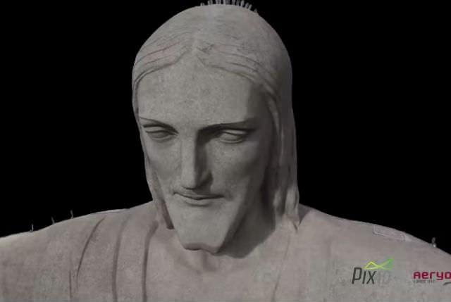 ドローンを使って巨大なキリスト像を3Dスキャン