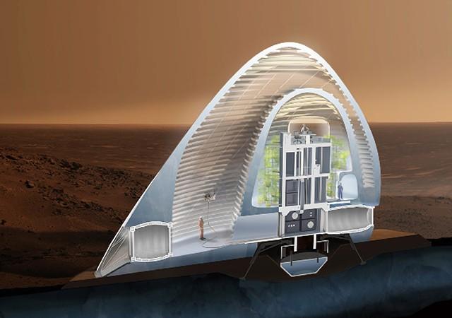 火星表面に建設される氷の3Dプリントハウス